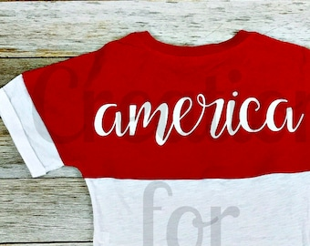 Ladies America T-Shirt, Patriotic TShirt, Fourth of July Shirt, 4th of July Shirt, Patriotic Monogram, Fourth of July Monogram, Memorial Day