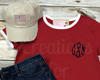Women's Monogrammed T-Shirt,America tshirt, Women's Tshirt, Monogrammed Tshirt, Fourth of July, Independence Day, America, Patriotic