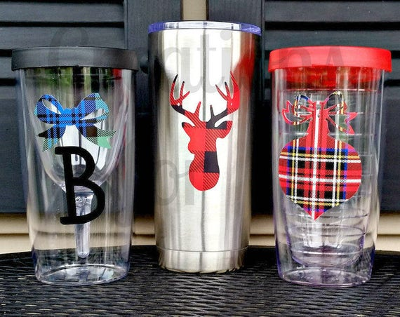 Monogrammed Holiday Tumbler, Christmas Tumbler, Christmas Monogram, Personalized Cup, Christmas Gift, Teacher Gift, Tartan Monogram, Plaid