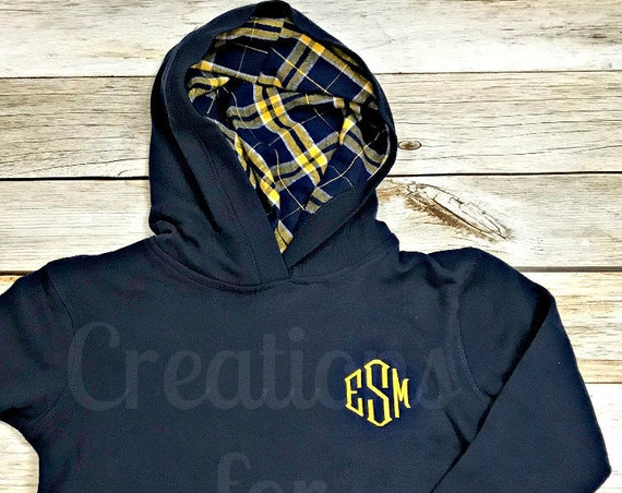 Girls Monogrammed Hooded Sweatshirt, Pullover Hoodie, Monogrammed Hoodie, Personalized Hooded Sweatshirt, Monogram Sweatshirt, Monogrammed