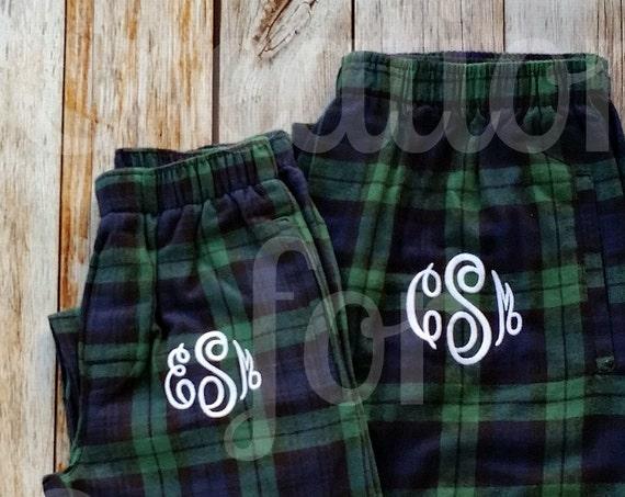 Monogrammed Pajama Pants, Monogrammed Loungewear, Flannel Plaid Lounge Pants, Monogrammed Plaid Pajama Pants