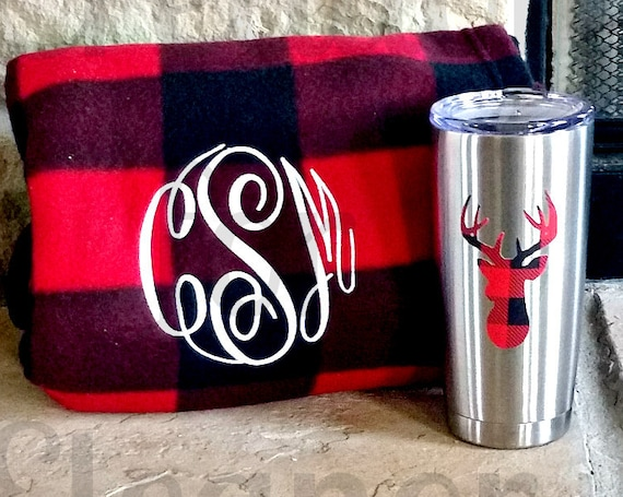 Personalized Blanket and Tumbler, Personalized Blanket, Fleece Blanket, Stainless Tumbler, Christmas Gift, Personalized Gift, Buffalo Plaid