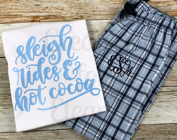 Monogrammed Pajamas, Monogram Pajamas, Monogram Flannel Pajamas, Monogrammed Pajama Set, Holiday Pajamas, Gift for Her, Christmas Pajamas