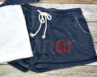 Monogrammed Shorts, Womens Monogrammed Shorts, Cheer Shorts, Dance Shorts, Volleyball Shorts, Lacrosse Shorts, Running Shorts, Field Hockey