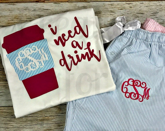 Monogram Seersucker Pajamas, Monogrammed Pajamas, Pajama Pants, Monogrammed Seersucker Pants and Shirt, Gifts for Her, Bridesmaids, Monogram