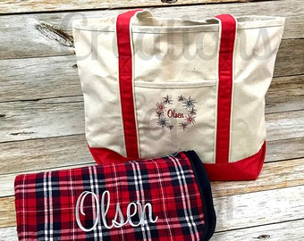 Personalized Tote Bag, Fourth of July, America, Independence Day, Personalized Blanket, Personalized Throw, Personalized Gift, Fireworks