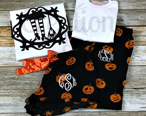 Monogrammed Flannel Boxers, Monogrammed Shorts, Ruffle Boxers, Halloween Pajama Set, Halloween PJs, Halloween Set, Halloween Boxers, Pumpkin