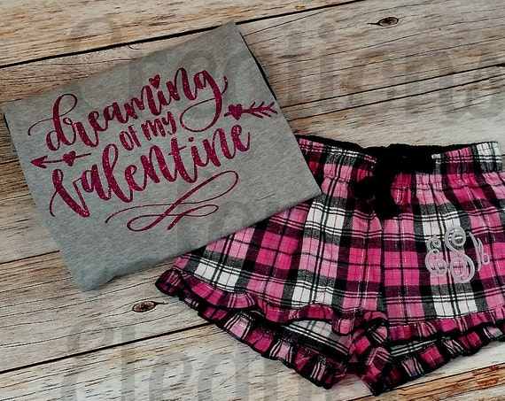 Monogrammed Flannel Boxer Shorts, Monogrammed Valentines Pajamas, Ruffle Boxers, Plaid Boxer Shorts, Valentines Day, Monogrammed Shorts