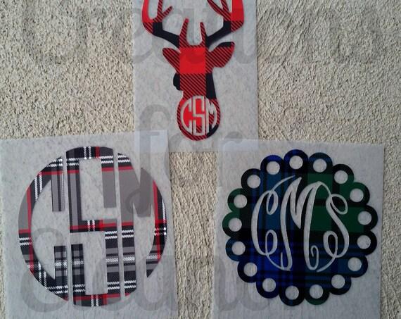 Christmas Monogram Decal, Personalized Vinyl Label, Christmas Decal, Holiday Monogram, Holiday Decal, Cell Phone Monogram, Laptop Monogram