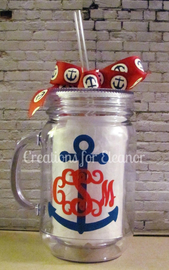 Monogrammed Mason Jar Tumbler, Personalized Cup, Personalized Mason Jar, Mason Jar cup, Monogrammed Tumbler, Anchor Monogram, Mason Jar