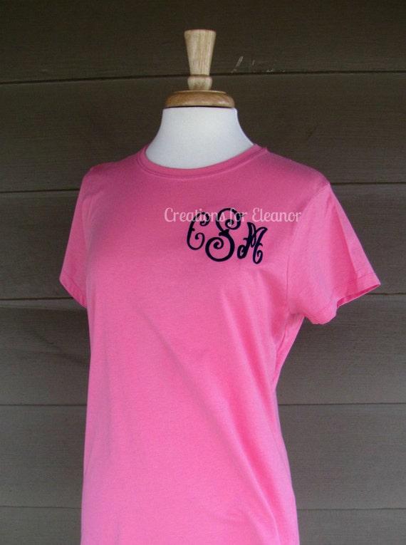 Women's Monogrammed T-Shirt, Women's T-Shirt, Monogram T-shirt, Monogrammed Women's Tshirt