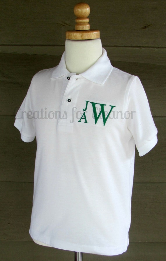 Boys Monogrammed Polo Shirt, Boys Pique Polo, Boys Monogram Shirt, Boys Polo Shirt