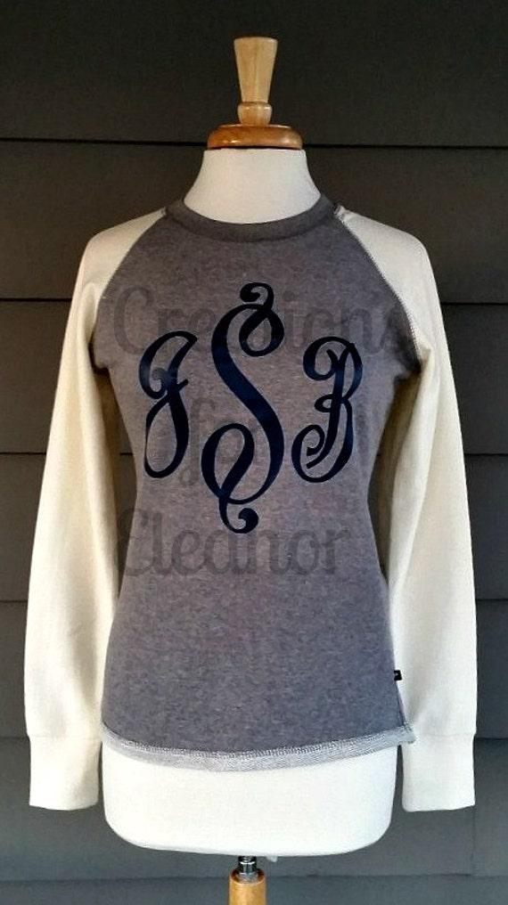 Women's Monogrammed Raglan Sleeve Sweatshirt, Women's Monogrammed Sweatshirt, Women's Jumbo Monogrammed Sweatshirt, Monogrammed Baseball