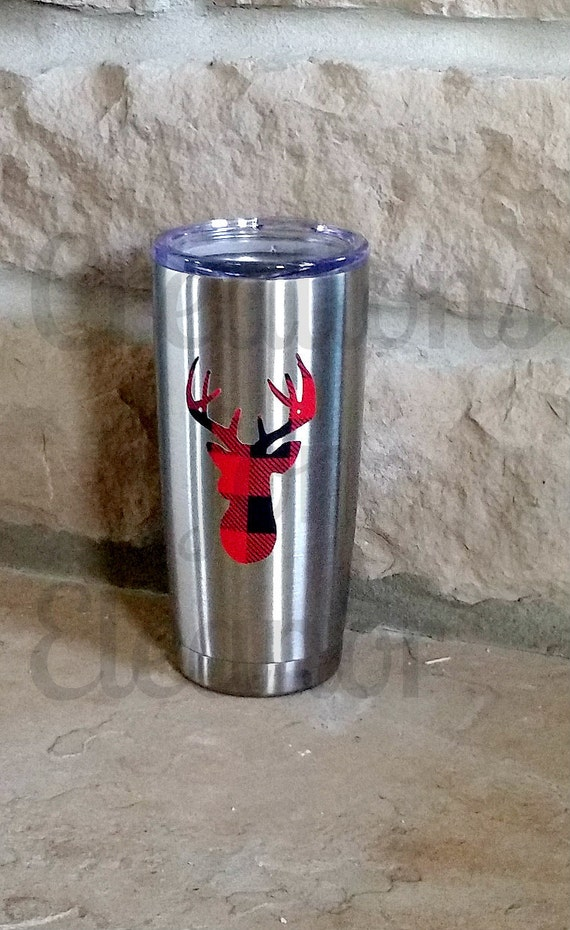 Monogrammed Stainless Tumbler, Personalized Cup, Personalized Insulated Cup, Christmas Tumbler, Holiday Monogram, Tumbler, Christmas, Deer