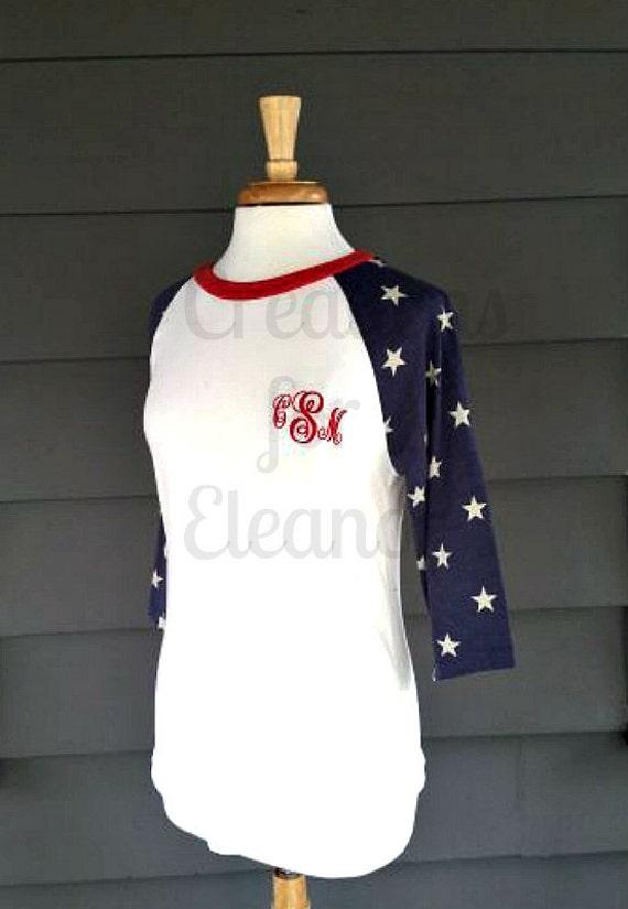 Women's Monogrammed Raglan Sleeve T-shirt, Patriotic T-shirt, Women's Baseball T-shirt, Monogrammed Raglan, Fourth of July, Independence Day