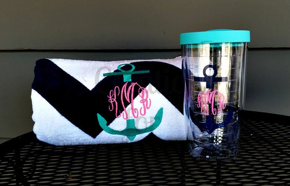 Monogrammed Beach Towel and Tumbler, Monogrammed Towel and Cup, Monogrammed Set, Monogrammed Bridesmaids Gift, Monogrammed Teachers Gift