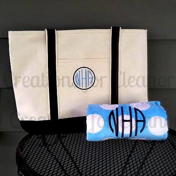 Monogrammed Beach Towel and Tote Bag, Monogram Beach Set, Monogram Towel and Bag, Beach Tote and Beach Towel, Bridesmaids Gifts
