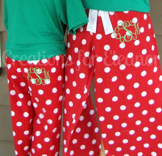 Monogrammed Pajama Pants, Monogrammed Loungewear, Flannel Polka Dot Lounge Pants