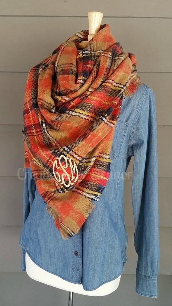 Monogram Scarf, Monogrammed Blanket Scarf, Monogrammed Gift, Monogrammed Plaid Scarf, Blanket Scarf, Blanket Scarves, Tartan Scarf