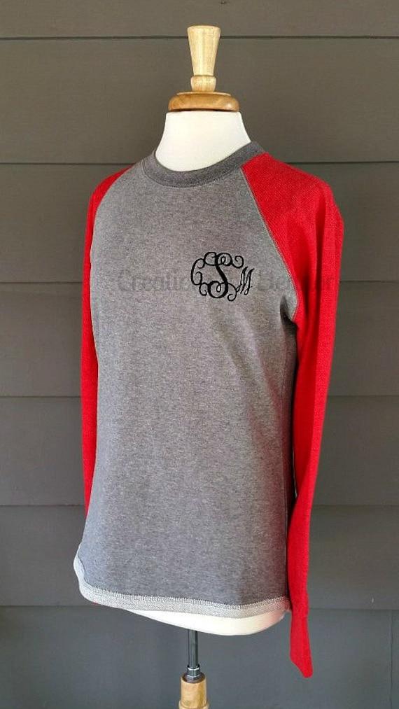 Women's Monogrammed Raglan Sleeve Sweatshirt, Women's Monogrammed Sweatshirt, Women's Baseball Sweatshirt, Monogrammed Baseball Sweatshirt