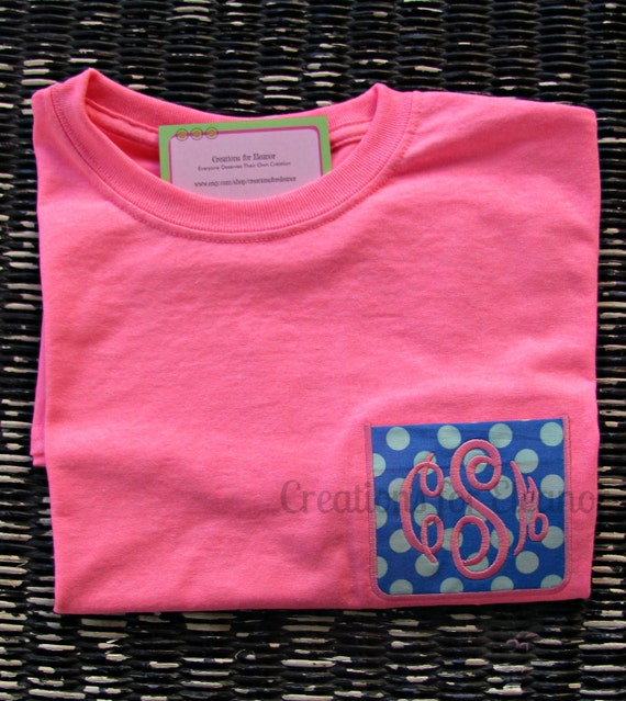 Girls Monogrammed Pocket T-shirts, Monogrammed Pocket T-shirt, Faux Pocket, Monogrammed T-Shirt, Girls Monogrammed T-shirt, Pocket Tshirt
