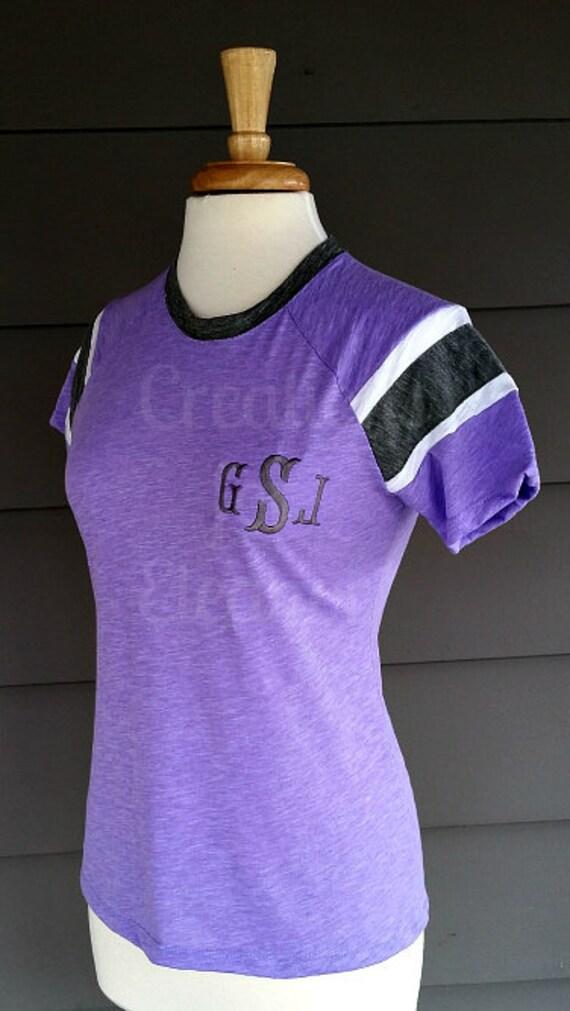Women's Monogrammed Tshirt, Contrast Raglan Stripe Sleeves, Monogrammed Tshirt, Women's Monogrammed Slub Knit T-shirt,Baseball T-shirt