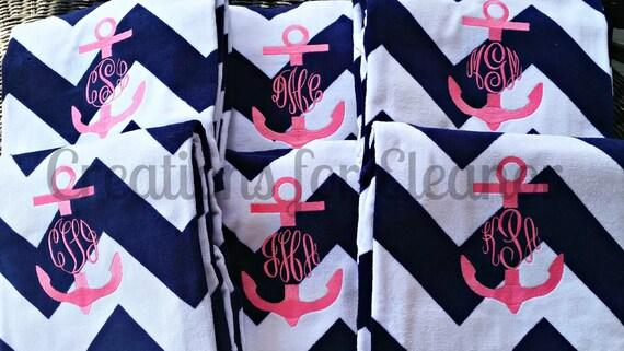Monogrammed Beach Towel, Personalized Beach Towel, Anchor Monogram, Monogrammed Towel, Bridesmaids Gift, Teachers Gift, Chevron Beach Towel