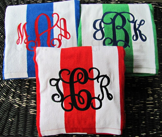 Monogrammed Beach Towel, Cabana Striped Towel, Monogrammed Stripe Towel, Stripe Beach Towel, Bridesmaids Gift, Teachers Gift, Stripe Towel