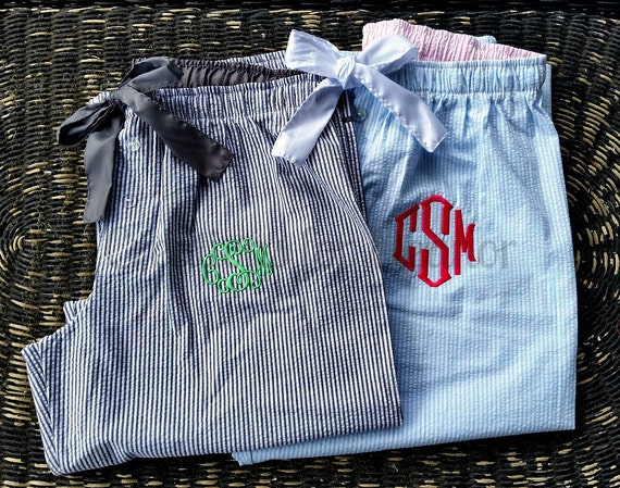 Monogrammed Seersucker Pants, Monogrammed Lounge Pants, Monogrammed Seersucker PJ Pants, Wedding Party Gift, Bridesmaids Gift, Bridal Party