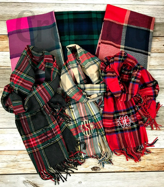 Monogram Scarf, Monogrammed Scarf, Monogrammed Plaid Scarf, Blanket Scarf, Tartan Scarf, Plaid Scarf, Oversized Scarf, Monogrammed Gift