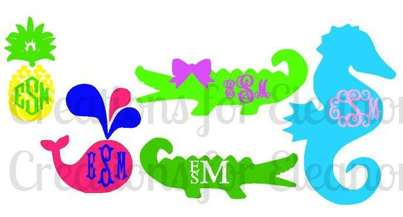 Vinyl Monogram Decal, Preppy Monogram Decal, Alligator Monogram, Whale Monogram, Pineapple Monogram, Cell Phone Decal, Laptop Decal, Decal