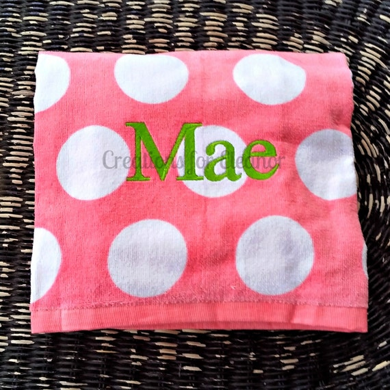 Monogrammed Beach Towel, Polka Dot Beach Towel, Monogrammed Polka Dot Towel, Bridesmaids Gift, Teacher Gift, Beach Towel
