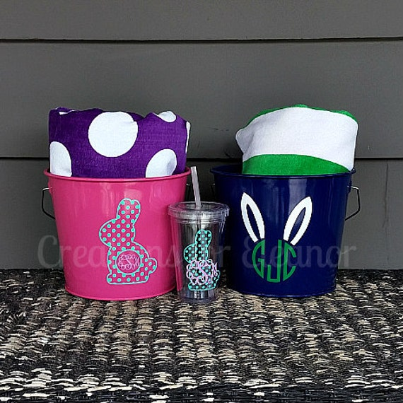 Monogrammed Easter Bucket and Beach Towel Gift Set
