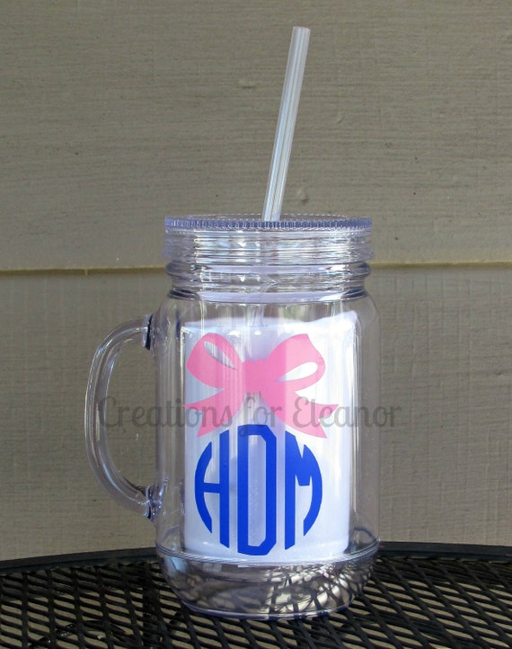 Monogrammed Mason Jar Tumbler, Personalized Cup, Personalized Mason Jar, Mason Jar cup, Monogrammed Tumbler, Tumbler, Mason Jar