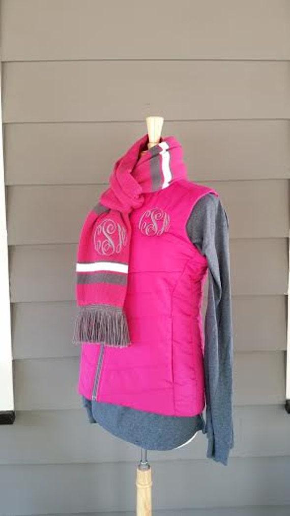 Womens Monogrammed Vest Set, Monogrammed Puffer Vest, Embroidered Vest, Monogrammed Coat, Monogrammed Gloves, Monogrammed Scarf, Women's