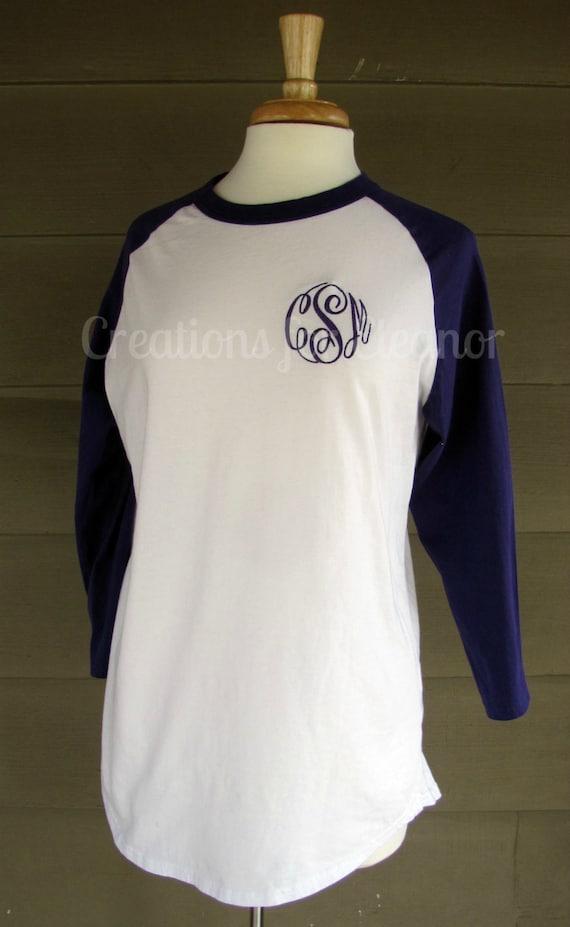 Womens Monogram Pullover, Womens Monogrammed Raglan Sleeve T-shirt, Long Sleeve Baseball T-shirt, Monogram Baseball Tee, Raglan Tee