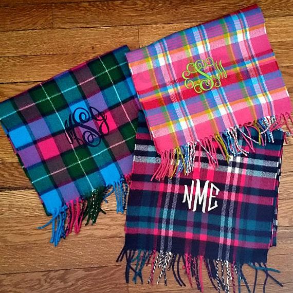 Monogram Scarf, Women's Monogrammed Scarf, Plaid Scarf, Houndstooth Scarf, Monogrammed Scarves, Women's Scarf, Christmas Gift, Monogram