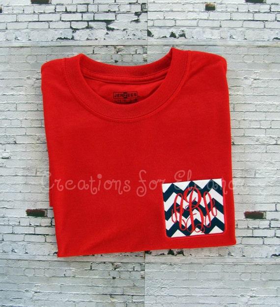 Girls Monogrammed Pocket T-shirts, Long Sleeve Custom Pocket Shirt, Custom Pocket T-shirt, Monogrammed T-shirt, Monogrammed Long Sleeve