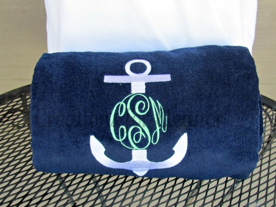Monogrammed Beach Towel, Personalized Beach Towel, Anchor Monogram Towel, Nautical Monogram Beach Towel, Bridesmaids Gift, Teachers Gift