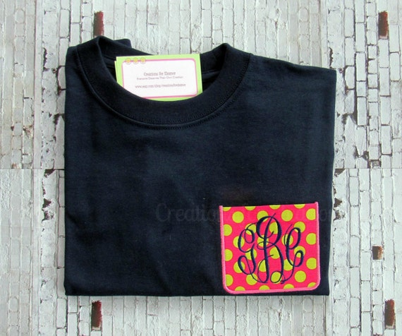 Girls Monogrammed Pocket T-shirts, Long Sleeve Monogrammed T-shirt, Faux Pocket T-shirt, Fabric Pocket T-shirt, Custom T-shirt