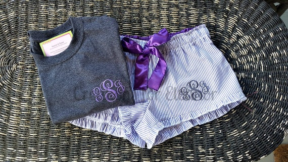 Monogrammed Seersucker Boxer Shorts with T-shirt, Monogrammed Seersucker Loungewear, Loungewear Set, Wedding Party Gift, Bridal Party Gift