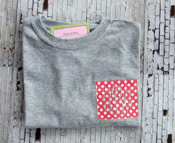 Girls Monogrammed Pocket T-shirts, Long Sleeve Pocket T-shirt, Custom Pocket T-shirt, Monogrammed T-shirt, Girls T-shirt, Girls Monogrammed