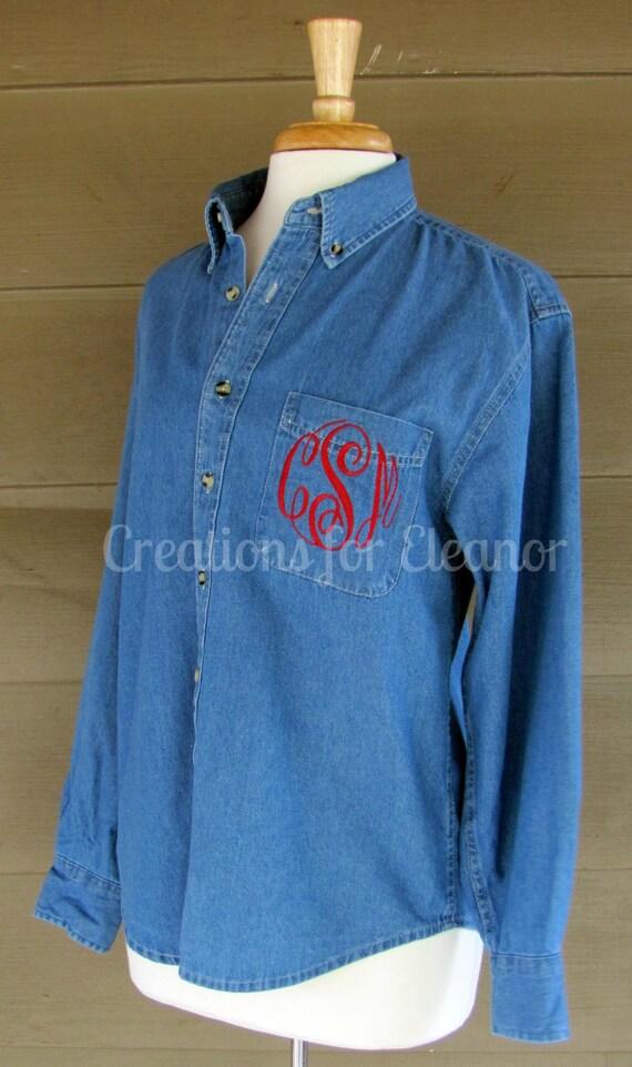Women's Monogrammed Denim Shirt, Monogrammed Button Down Shirt, Oversized Monogrammed Shirt, Wedding Shirt, Oversized Wedding Shirts