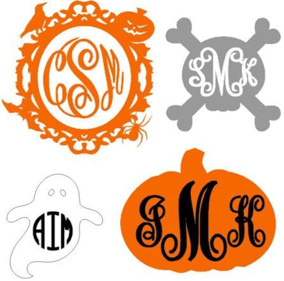 Halloween Monogram Decal, Halloween Monogram, Halloween Decal, Holiday Monogram, Holiday Decal, Cell Phone Monogram, Laptop Monogram