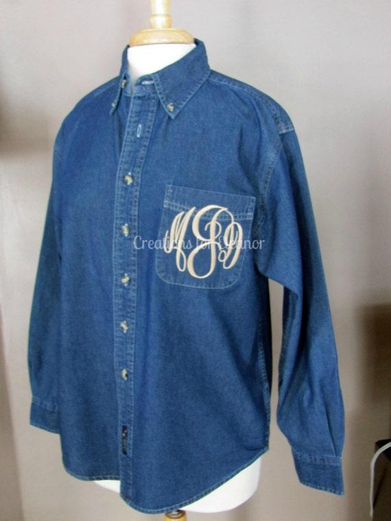 Women's Monogrammed Denim Shirt, Monogrammed Denim Shirt, Women's Monogrammed Shirt, Oversized Denim Shirt, Bridesmaids Shirt, Wedding Shirt