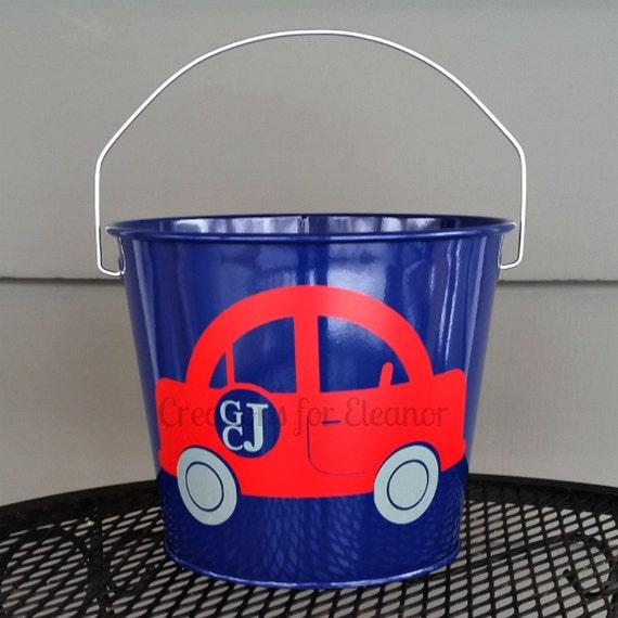 Personalized Bucket, Monogrammed Bucket, Galvanized bucket, Easter Basket, Easter Bucket, Trick or Treat, Boys Monogram, Car Monogram