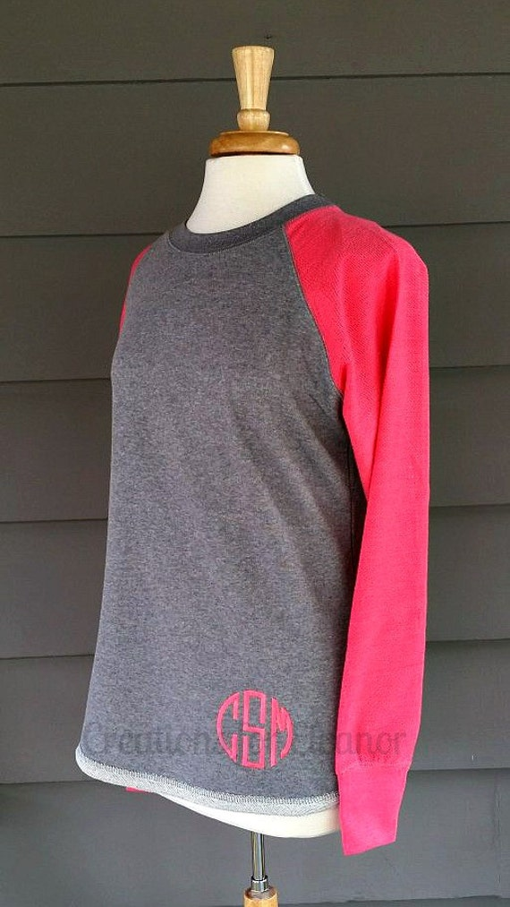 Monogram Sweatshirt, Women's Monogrammed Raglan Sleeve Sweatshirt, Monogrammed Sweatshirt, Women Sweatshirt, Monogrammed Sweatshirt