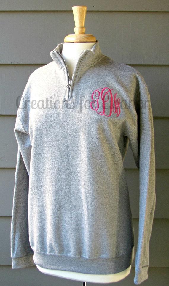Monogrammed Sweatshirt, Girls Monogrammed 1/4 Zip Sweatshirt, Quarter Zip Sweatshirt, Girls Pullover, , Girls Monogrammed Pullover, Monogram