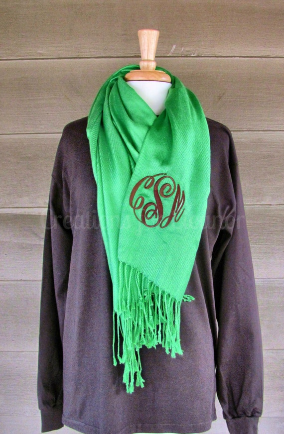 Monogrammed Scarf, Monogrammed Pashmina, Monogrammed Shawl, Monogrammed Wrap, Bridal Party Gift, Wedding Party Gift, Bridesmaids Gift