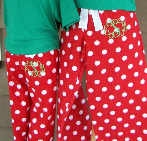Monogrammed Pajama Pants with T-shirt, Polka Dot Flannel Pants, Monogrammed Pajamas, Monogrammed Set